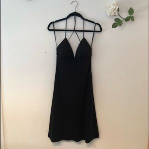 White House Black Market Strappy Halter Dress BLK